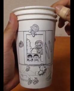 ドラえもんの紙コップ漫画で大注目!しんらしんげさんの神がかり作品集